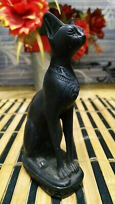 Egyptian Feline Statue Handmade Bast Cat Goddess Sculpture