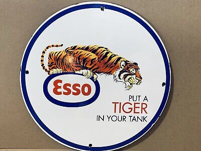12in ESSO PUT TIGER IN TANK  GASOLINE PORCELAIN SIGN OIL GAS PUMP PLATE