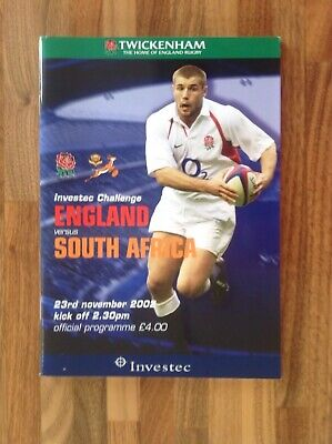 England V South Africa Rugby Union Programme 2002
