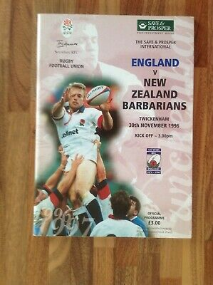 England V New Zealand Barbarians Rugby Union Programme 1996.