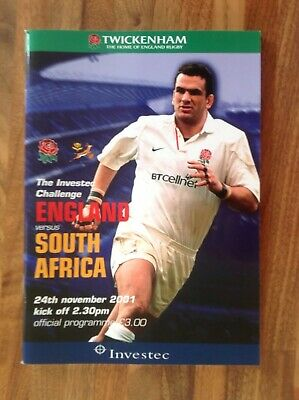 England V South Africa Rugby Union Programme 2001.