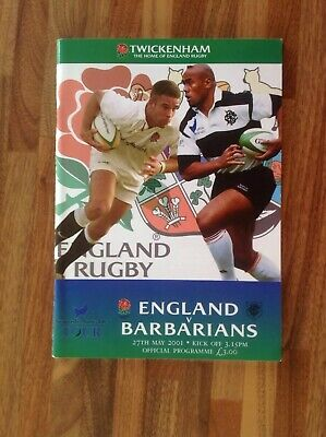 England V Barbarians Rugby Union Programme 2001.