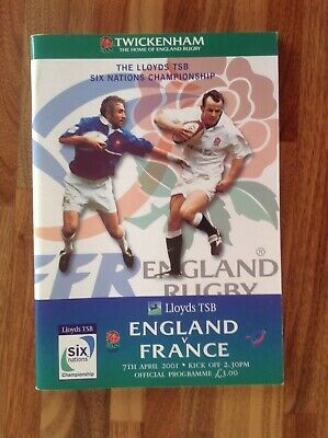 England V France Six Nations Rugby Union Programme 2001.