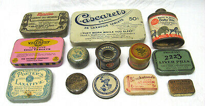13 Piece Collection Small Antique Advertising Drug Store Medicine Tins