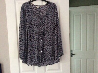 Monsoon ladies patterned blue grey  top tunic  size 18