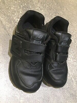 Boys NEW BALANCE Trainers Shoes Black Leather Velcro School Size 10.5