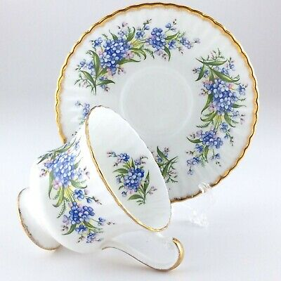 Paragon Forget Me Not Gold Stencil Bone China England Teacup And Saucer L428