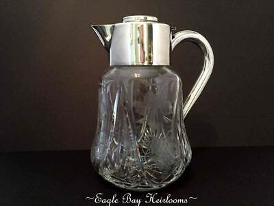 Antique Lead Crystal, Chased Grapes & Leaves, ASCI Silverplated Germany Pitcher