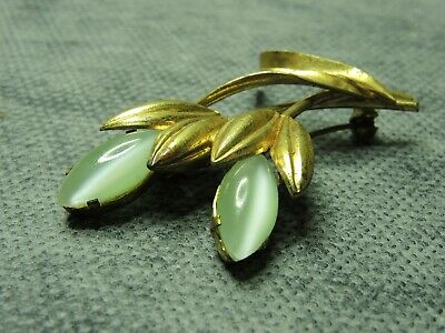 "Art Deco Bohemian Brass & Glass Brooch ""Twig"""