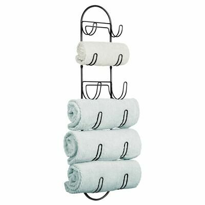 mDesign Metal Wall Mount Bath Towel Organizer Rack, 6 Shelves - Black