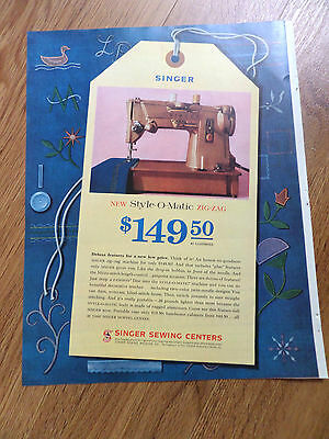1961 Vintage Singer Sewing Machine Ad New Style-O-Matic Zig-Zab $149.50