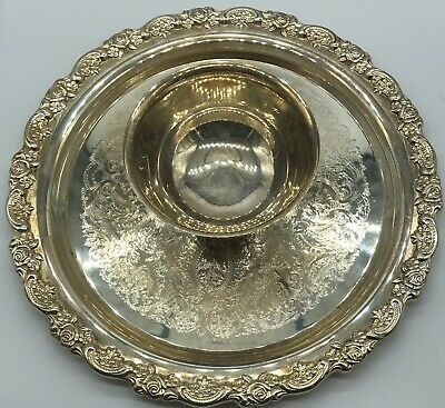 Oneida Silver Plated Platter w/Attached Bowl