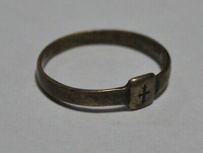 Medieval Bronze Ring Cross Design 12th-15th Eastern Roman Empire Byzantine