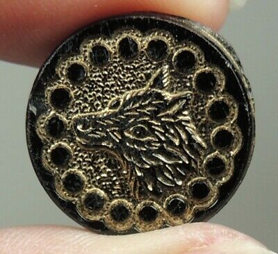 Antique Black Glass Picture Button ~  Wolf Or Dog Head W/ Gold Luster