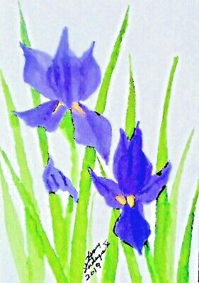 COLORFUL ABSTRACT PURPLE IRISES -  ORIGINAL ACEO WATERCOLOR by HENRY LASTRAPES