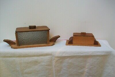 Antique Art Deco wooden pair of cheese butter dish storage boxes 70B French