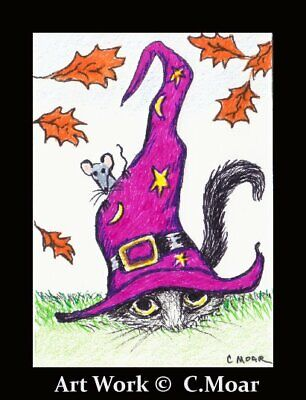 Kitten Cat Mouse Witch Hat ACEO Original Art ink Drawing INKTOBER 2019 # 7-31