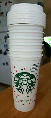 (6) 16oz  STARBUCKS REUSABLE TRAVEL TO-GO PLASTIC CUPS W/ SNAP LID NEW!!