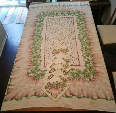 "Vintage 1950's Printed Green & Brown Floral Tablecloth & Napkin Set 68""x50"""