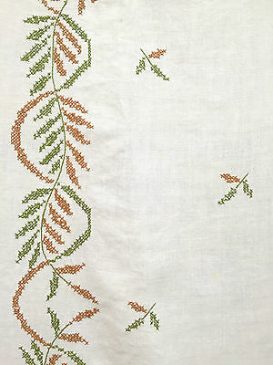 Vintage Large Brown & Green Embroidered Tablecloth