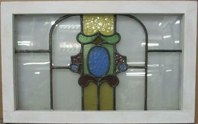 "MIDSIZE OLD ENGLISH LEADED STAINED GLASS WINDOW Interesting Abstract 28"" x 17.5"""