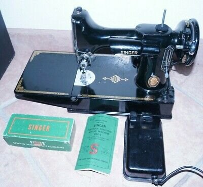 1953 Singer 221 Featherweight Sewing Machine w/ Pedal, Case, Attachments