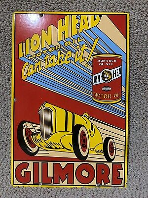 15 in GILMORE LION HEAD RACING OIL PORCELAIN enamel SIGN GASOLINE GAS PUMP PLATE