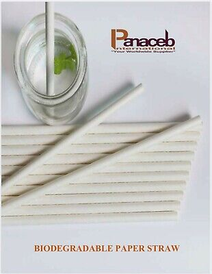 Strong Biodegradable Paper Straw Individually wrapped, Box of 6,000 units