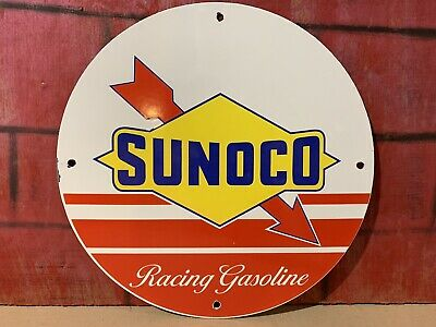 12in SUNOCO RACING GASOLINE PORCELAIN ENAMEL SIGN OIL GAS PUMP PLATE