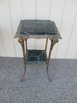 50731 Antique Victorian Figural Marble and Metal Pedestal Lamp Table Fern Stand