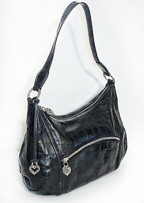 Brighton Croc Embossed Black Leather Heart Charm Large Hobo Shoulder Bag Handbag