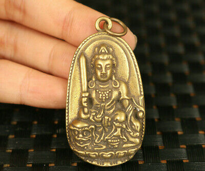 Mini Old bronze hand casting buddha blessing amulet statue collectable