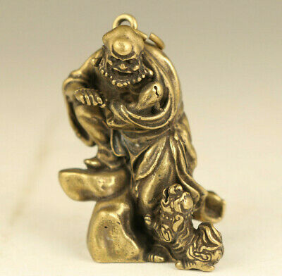 china Old bronze hand carving arhat Buddha statue pendant table decoration gift