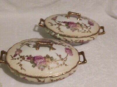 Pair*Antique* Limoges *France* Hand Painted*Drop Rose* Oval Covered Bowls