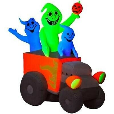Halloween Inflatable 6 FT. GHOSTS PUMPKIN HOT ROD RACE CAR Lighted Gemmy