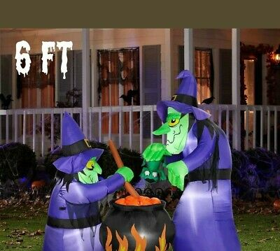 6' Tall Halloween Airblown Inflatable WITCHES BREW LED Lighted Outdoor Decor