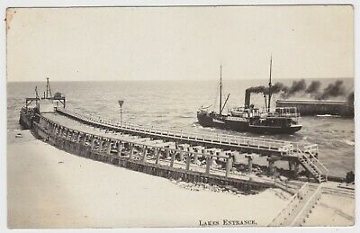 Jetty & Boat Lakes Entrance Victoria OLD POSTCARD c1905 by Bulmer Bairnsdale