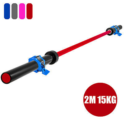 Olympic Barbell Weight Bar Bench Press Lifting Squat Red 15kg 1200LBS 2M
