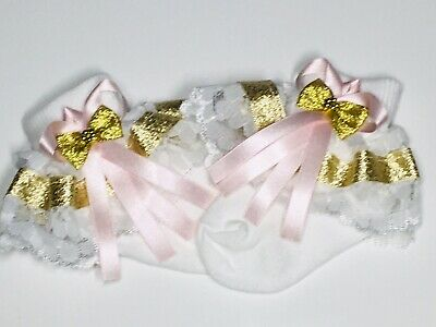 Handmade baby pink & gold white frilly socks baby/girls