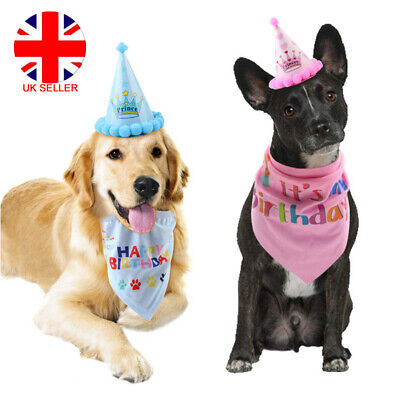 Pet Dog Cat Birthday Hat Headwear Bandana Neckerchief Ties Party Fancy Dress UK