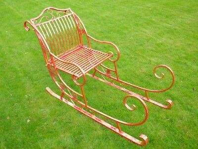 Stunning Christmas Sleigh Metal Freestanding In Red With Gold Leaf Finish