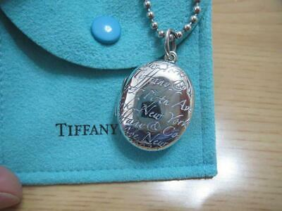 Tiffany & Co. Authentic SV925 Oval Notes Script Fifth Avenue Locket Necklace