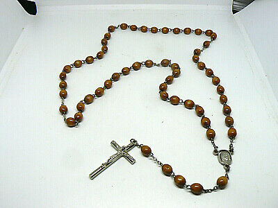 Lovely Wooden Bead Pre-Owned Roman Catholic 5 Decade Holy Rosary