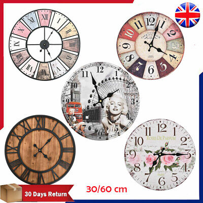 Wall Clock Vintage Quartz Movement 30cm 60cm 80cm Antique Large Dial Timer Decor