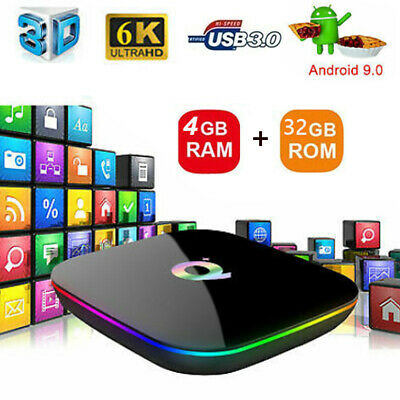 Q Plus 4GB+32G/64G Android 9.0 TV BOX H6 Quad Core 6K WiFi Media+Tastiera Q4T7