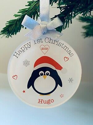 Personalised Baby's First Christmas Tree Bauble 1st Xmas Decoration Penguin