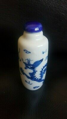 Antique Chinese Porcelain Blue & White Handpainted  Dragon Snuff Bottle (Signed)