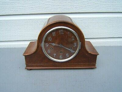 Art-Deco chiming  Walnut mantel clock Wurtheenburg W200 316 beautiful case   M7