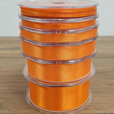 Luxury Double Sided Satin Ribbon Bright Rich Orange 3-38mm Wide Plain Cut Per 1M