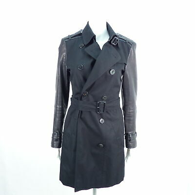 BURBERRY Damen Mantel schwarz EU 38 Leder Leather Baumwolle Cotton Jackets Coats